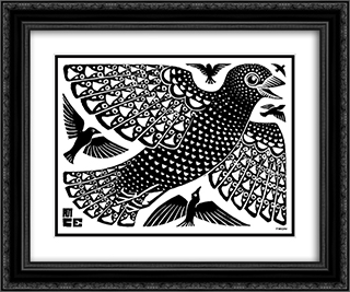 Birds 24x20 Black or Gold Ornate Framed and Double Matted Art Print by M.C. Escher