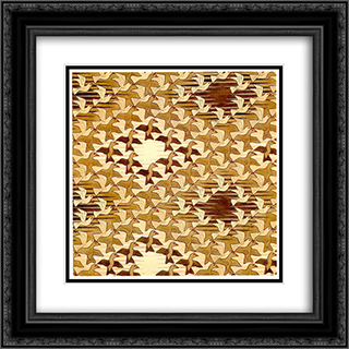 Birds in Space 20x20 Black or Gold Ornate Framed and Double Matted Art Print by M.C. Escher