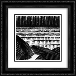 Blocks of Basalt along the Sea 20x20 Black or Gold Ornate Framed and Double Matted Art Print by M.C. Escher