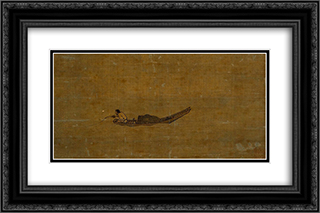 Angler on a Wintry Lake (detail) 24x16 Black or Gold Ornate Framed and Double Matted Art Print by Ma Yuan