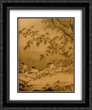 Dancing and Singing (Peasants Returning from Work) (detail 3) 20x24 Black or Gold Ornate Framed and Double Matted Art Print by Ma Yuan