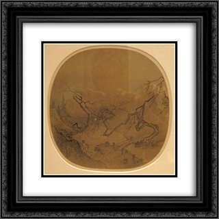 Gentleman in a Garden (traditionally attributed to Ma Yuan) 20x20 Black or Gold Ornate Framed and Double Matted Art Print by Ma Yuan