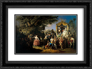 La feria de Santiponce 24x18 Black or Gold Ornate Framed and Double Matted Art Print by Manuel Rodriguez de Guzman