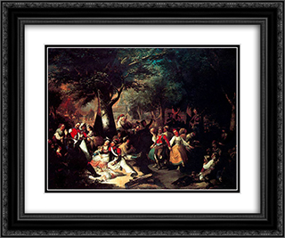 La romeria de la Virgen del Puerto 24x20 Black or Gold Ornate Framed and Double Matted Art Print by Manuel Rodriguez de Guzman