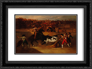Suerte de varas 24x18 Black or Gold Ornate Framed and Double Matted Art Print by Manuel Rodriguez de Guzman