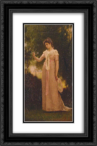 A Girl in a Garden 16x24 Black or Gold Ornate Framed and Double Matted Art Print by Marcus Stone