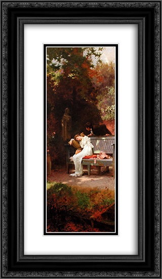 A Stolen Kiss 14x24 Black or Gold Ornate Framed and Double Matted Art Print by Marcus Stone