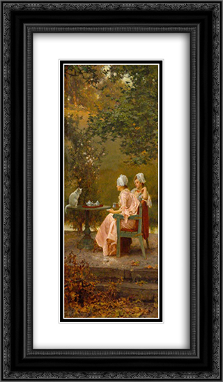 Good Friends 14x24 Black or Gold Ornate Framed and Double Matted Art Print by Marcus Stone
