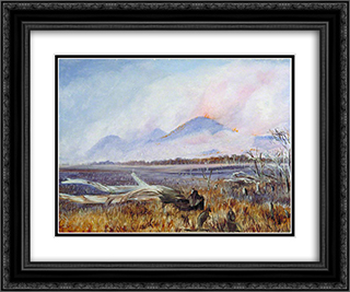 A Bush Fire at Sunset, Queensland 24x20 Black or Gold Ornate Framed and Double Matted Art Print by Marianne North