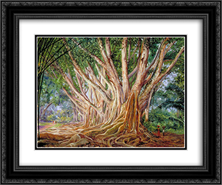 Avenue of Indian Rubber Trees at Peradeniya, Ceylon 24x20 Black or Gold Ornate Framed and Double Matted Art Print by Marianne North