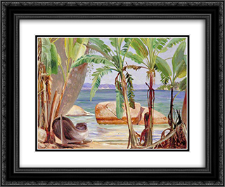 Bananas and Rocks at Paqueta, Brazil 24x20 Black or Gold Ornate Framed and Double Matted Art Print by Marianne North