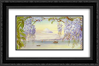 Distant View of Mount Fujiyama, Japan, and Wistaria 24x16 Black or Gold Ornate Framed and Double Matted Art Print by Marianne North