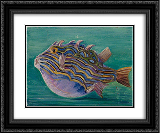 Exotic Fish 24x20 Black or Gold Ornate Framed and Double Matted Art Print by Marianne North
