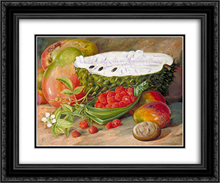 Fruit Grown in the Seychelles 24x20 Black or Gold Ornate Framed and Double Matted Art Print by Marianne North