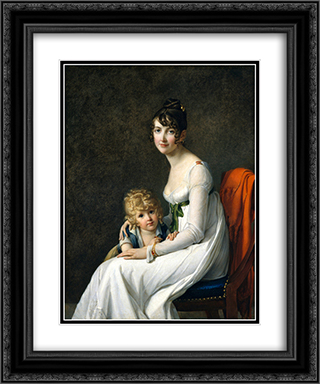 Madame Jeanne Desbassayns de Richemont And Her Son, Eugene 20x24 Black or Gold Ornate Framed and Double Matted Art Print by Marie Guillemine Benoist