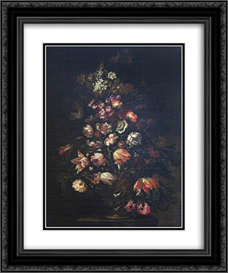 A Flower Piece 20x24 Black or Gold Ornate Framed and Double Matted Art Print by Mario Nuzzi