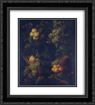 Fruit Garland Encircling a Relief 20x22 Black or Gold Ornate Framed and Double Matted Art Print by Mario Nuzzi