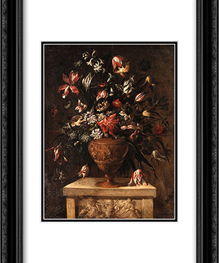 Glowers in a sculpted vase on a stone plinth 20x24 Black or Gold Ornate Framed and Double Matted Art Print by Mario Nuzzi