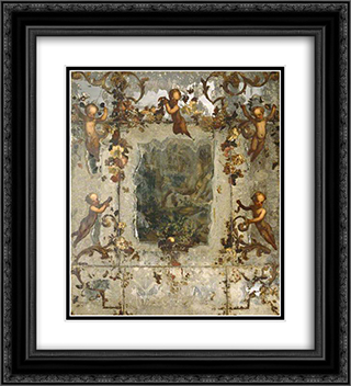 Mirror Decorated with Putti, Flowers and Acanthus Scrolls 20x22 Black or Gold Ornate Framed and Double Matted Art Print by Mario Nuzzi