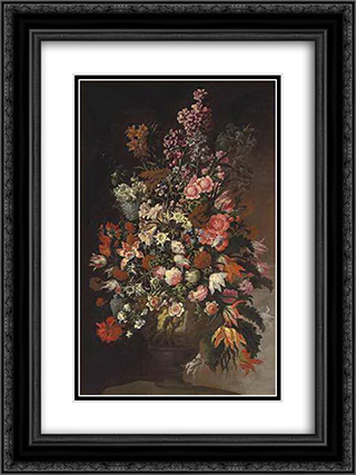Roses, tulips, chrysanthemums and other flowers, in a sculpted urn, on an earthen bank 18x24 Black or Gold Ornate Framed and Double Matted Art Print by Mario Nuzzi