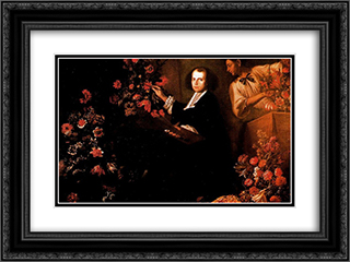 Self-portrait with flowers 24x18 Black or Gold Ornate Framed and Double Matted Art Print by Mario Nuzzi