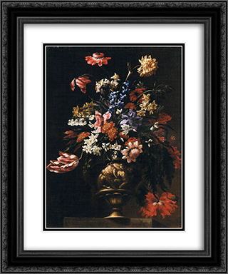 Still life with a vase of flowers 20x24 Black or Gold Ornate Framed and Double Matted Art Print by Mario Nuzzi