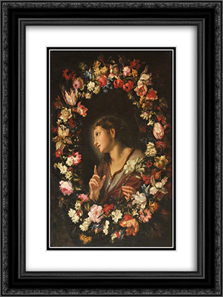The Angel of the Annunciation in a Garland of Flowers 18x24 Black or Gold Ornate Framed and Double Matted Art Print by Mario Nuzzi