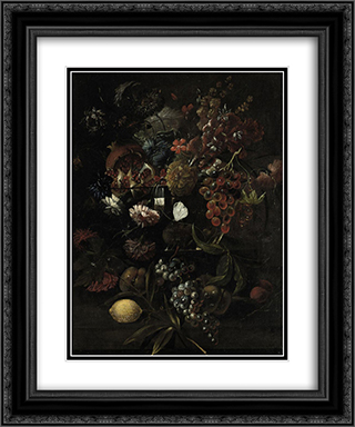 Various flowers in a glass vase with blue grapes, peaches and a lemon, all on a ledge 20x24 Black or Gold Ornate Framed and Double Matted Art Print by Mario Nuzzi