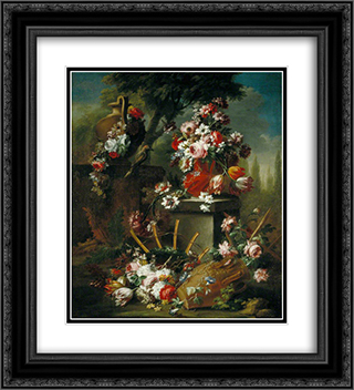 Vase and Flowers 20x22 Black or Gold Ornate Framed and Double Matted Art Print by Mario Nuzzi