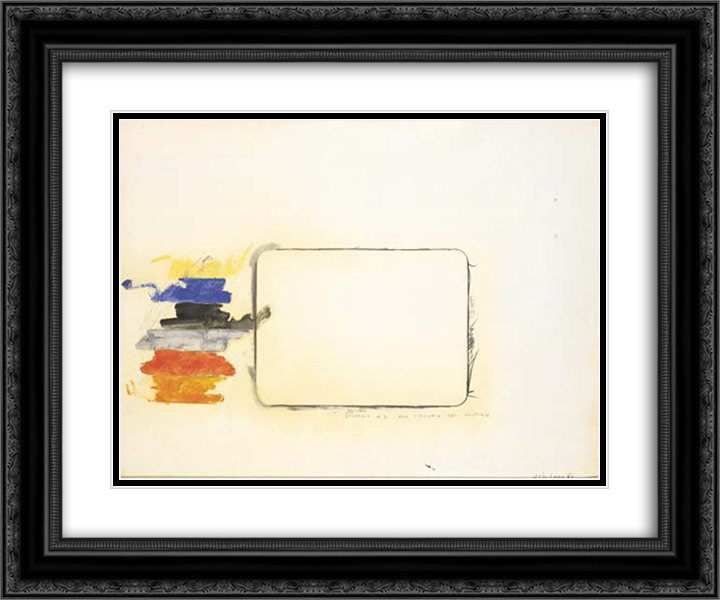 Disegno n. 2 per l'occhio del critico 24x20 Black or Gold Ornate Framed and Double Matted Art Print by Mario Schifano