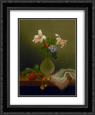 A Vase of Corn Lilies and Heliotrope 20x24 Black or Gold Ornate Framed and Double Matted Art Print by Martin Johnson Heade