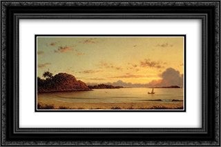 Dawn 24x16 Black or Gold Ornate Framed and Double Matted Art Print by Martin Johnson Heade