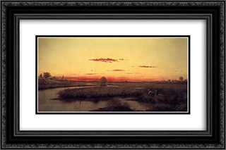 Duck Hunters in a Twilight Marsh 24x16 Black or Gold Ornate Framed and Double Matted Art Print by Martin Johnson Heade