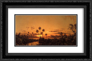Florida River Scene Early Evening, After Sunset 24x16 Black or Gold Ornate Framed and Double Matted Art Print by Martin Johnson Heade