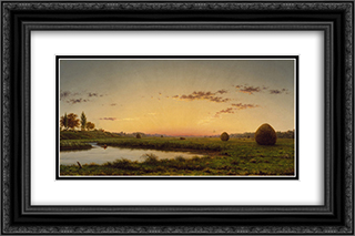 Haystacks on the Newburyport Marshes 24x16 Black or Gold Ornate Framed and Double Matted Art Print by Martin Johnson Heade