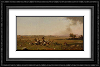 Hunters Resting 24x16 Black or Gold Ornate Framed and Double Matted Art Print by Martin Johnson Heade