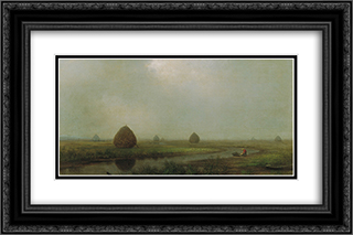 Jersey Marshes 24x16 Black or Gold Ornate Framed and Double Matted Art Print by Martin Johnson Heade
