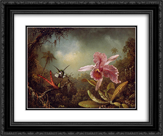 Orchid with Two Hummingbirds 24x20 Black or Gold Ornate Framed and Double Matted Art Print by Martin Johnson Heade