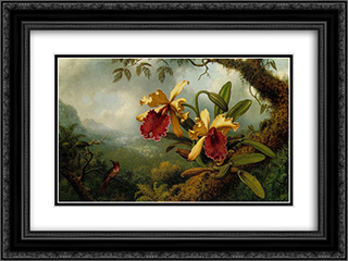Orchids and Hummingbird 24x18 Black or Gold Ornate Framed and Double Matted Art Print by Martin Johnson Heade
