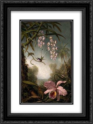 Orchids and Spray Orchids with Hummingbird 18x24 Black or Gold Ornate Framed and Double Matted Art Print by Martin Johnson Heade
