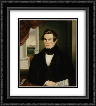 Portrait of a Man 20x22 Black or Gold Ornate Framed and Double Matted Art Print by Martin Johnson Heade