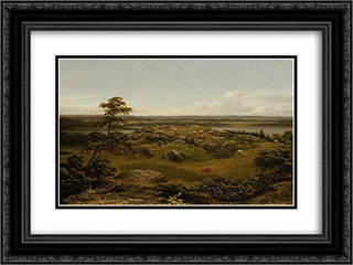 Rocks in New England 24x18 Black or Gold Ornate Framed and Double Matted Art Print by Martin Johnson Heade