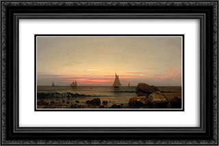 Sailing off the Coast 24x16 Black or Gold Ornate Framed and Double Matted Art Print by Martin Johnson Heade