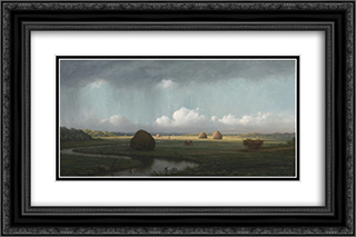 Sudden Showers, Newbury Marshes 24x16 Black or Gold Ornate Framed and Double Matted Art Print by Martin Johnson Heade