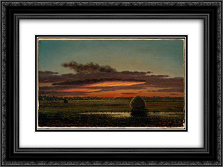 Sunset Over the Marshes 24x18 Black or Gold Ornate Framed and Double Matted Art Print by Martin Johnson Heade