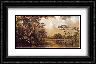 The Great Florida Marsh 24x16 Black or Gold Ornate Framed and Double Matted Art Print by Martin Johnson Heade