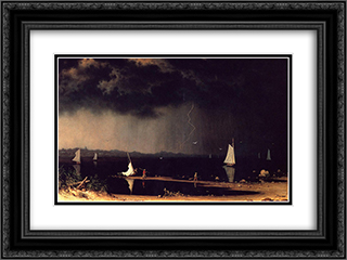 Thunderstorm on Narragansett Bay 24x18 Black or Gold Ornate Framed and Double Matted Art Print by Martin Johnson Heade