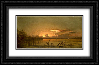 Twilight on the St. Johns River 24x16 Black or Gold Ornate Framed and Double Matted Art Print by Martin Johnson Heade