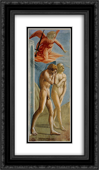 Adam and Eve banished from Paradise 14x24 Black or Gold Ornate Framed and Double Matted Art Print by Masaccio