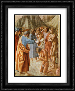 Baptism of the Neophytes 20x24 Black or Gold Ornate Framed and Double Matted Art Print by Masaccio